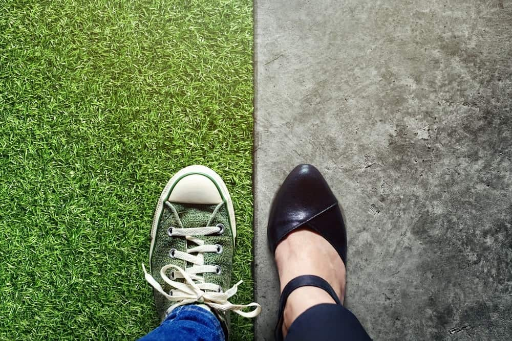 two feet, concept of work-life balance