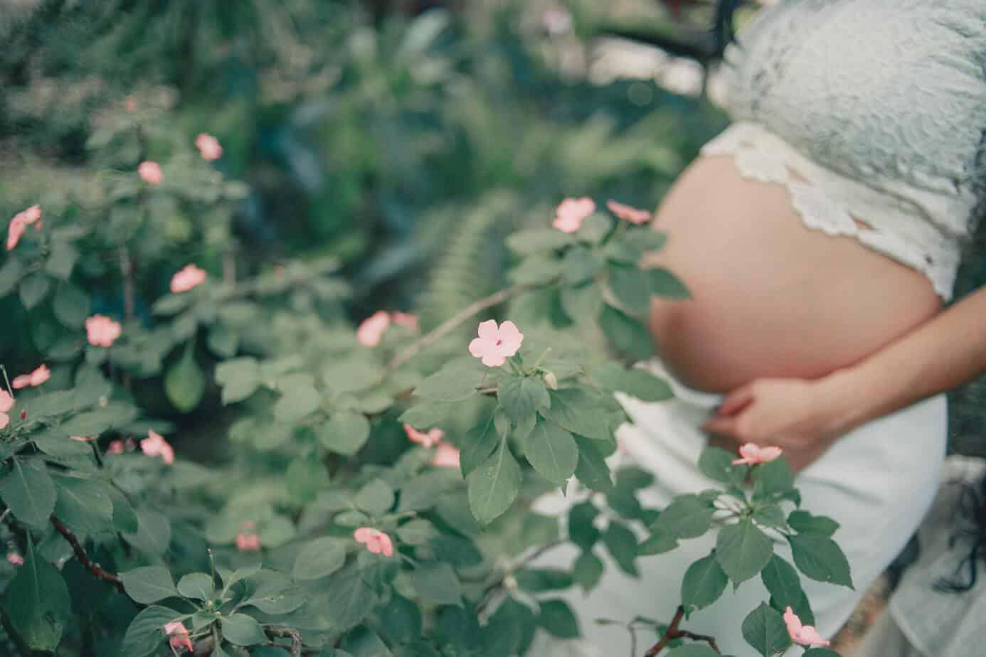 23 weeks pregnant in green garden beautiful