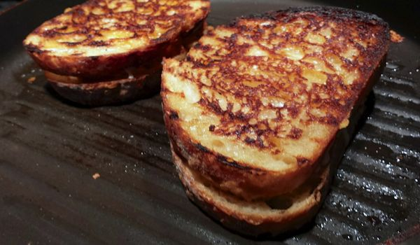 Pataks Indian Shrimp Grilled Cheese cooking