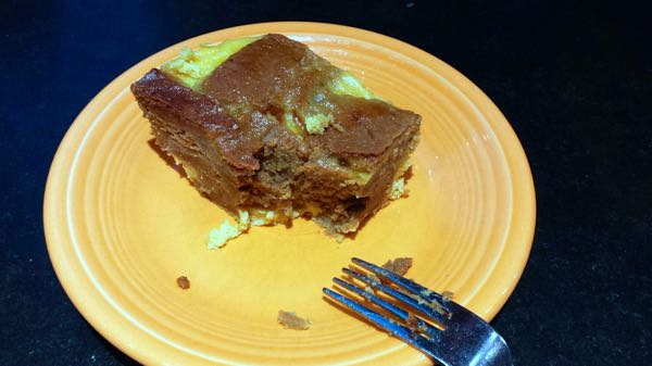 gingerbread bread pudding slice