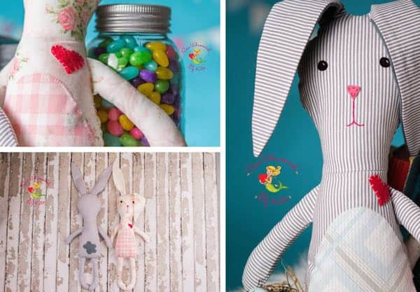 Etsy One of a Kind Sew Whimsical Bunny Softies