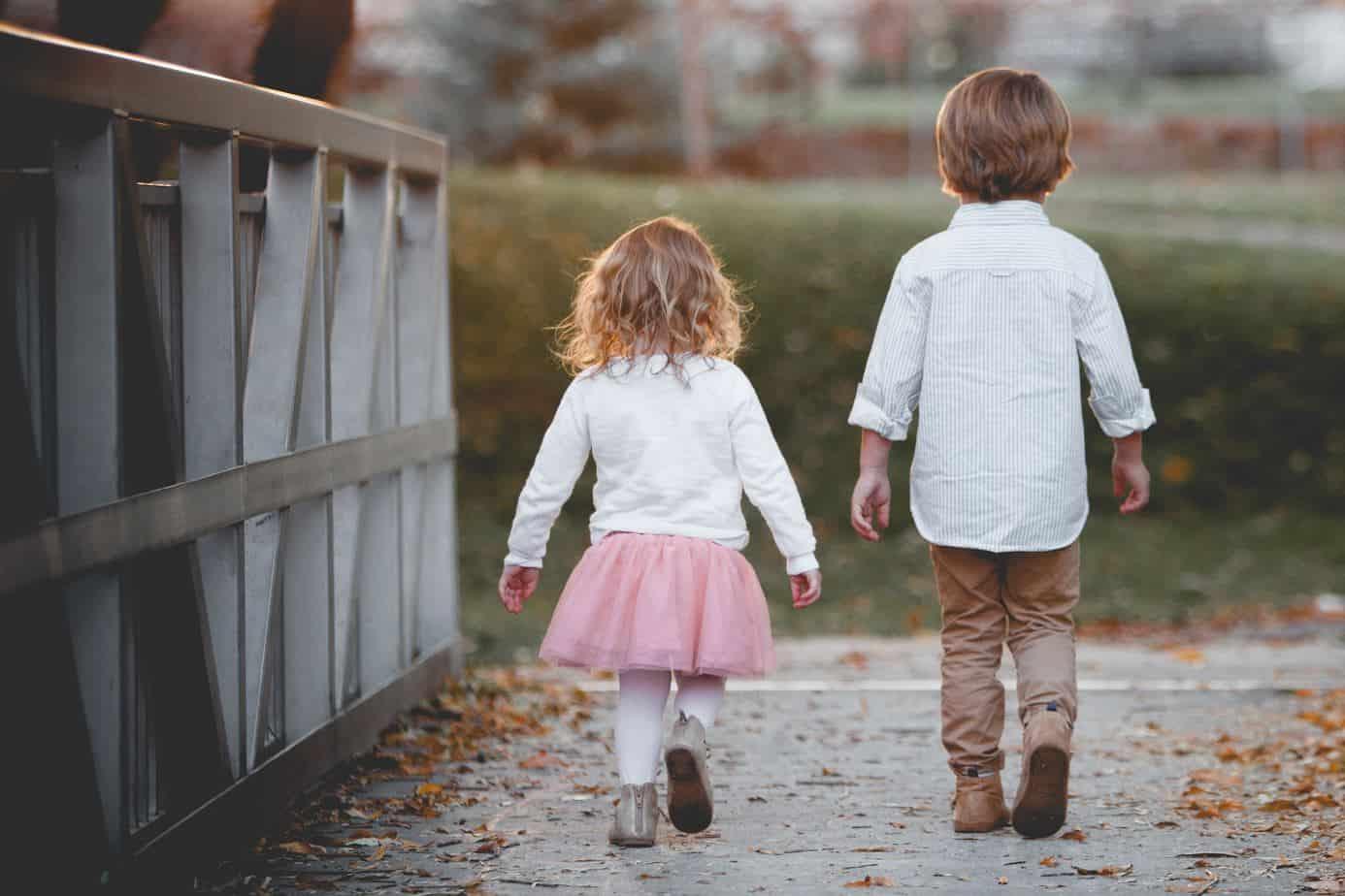 little children walking independently