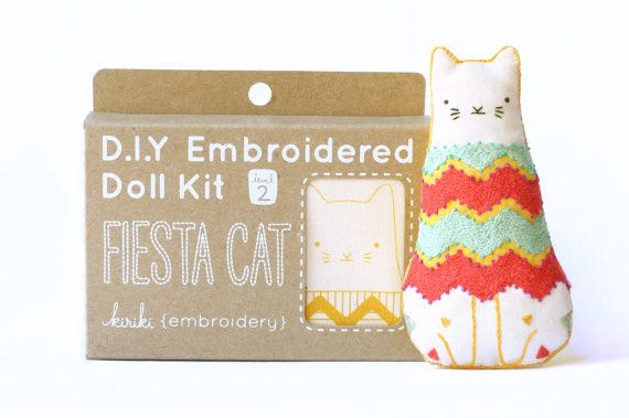 Etsy Canada DIY Kits Fiesta Cat Embroidery