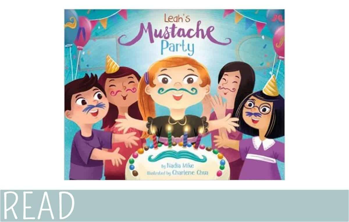 kids-book-review-leahs-mustache-party cover art