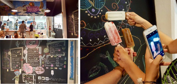 collage of photos from inside Suzy's Pop handmade popsicle shop at Lowe Mill