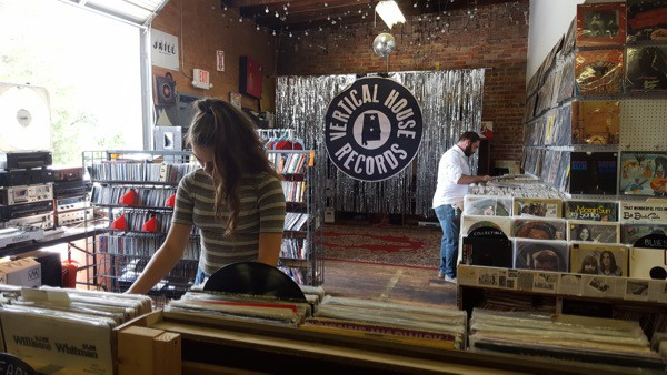 interior shot of vertical house record shop