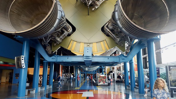 Bottom view of the Saturn V Rocket