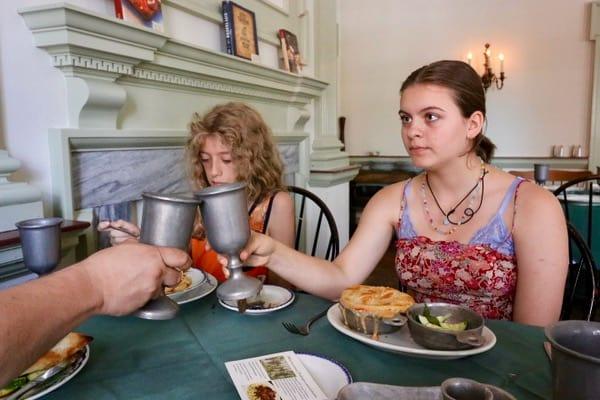 family travel historic philadelphia city tavern lunch