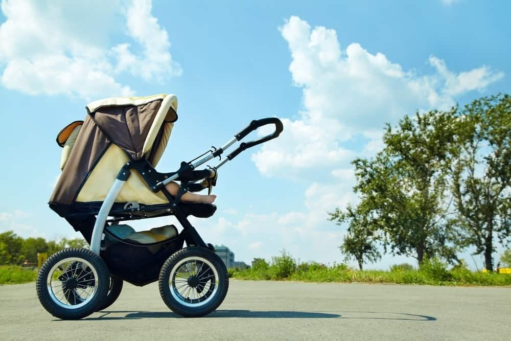stroller in the park on a sunny day