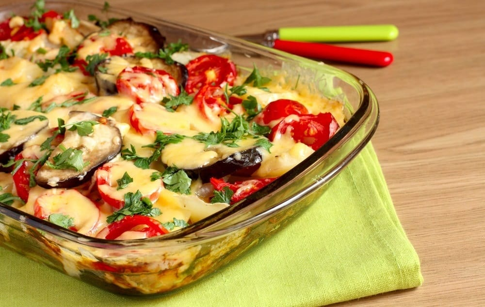 casserole with tomatoes and eggplant