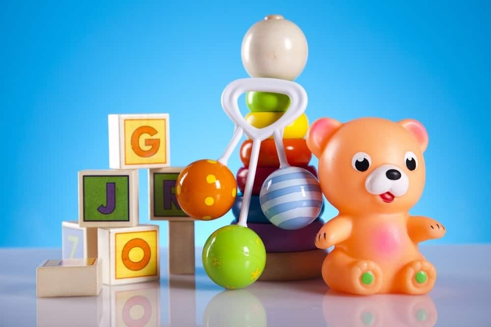 baby toys on blue background