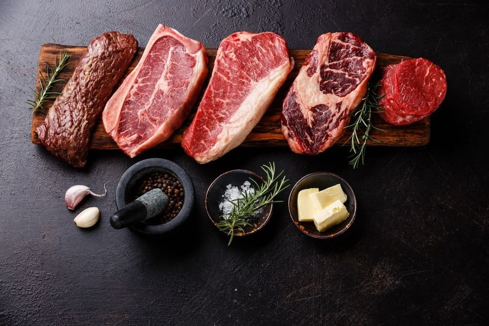 various cuts of red meat