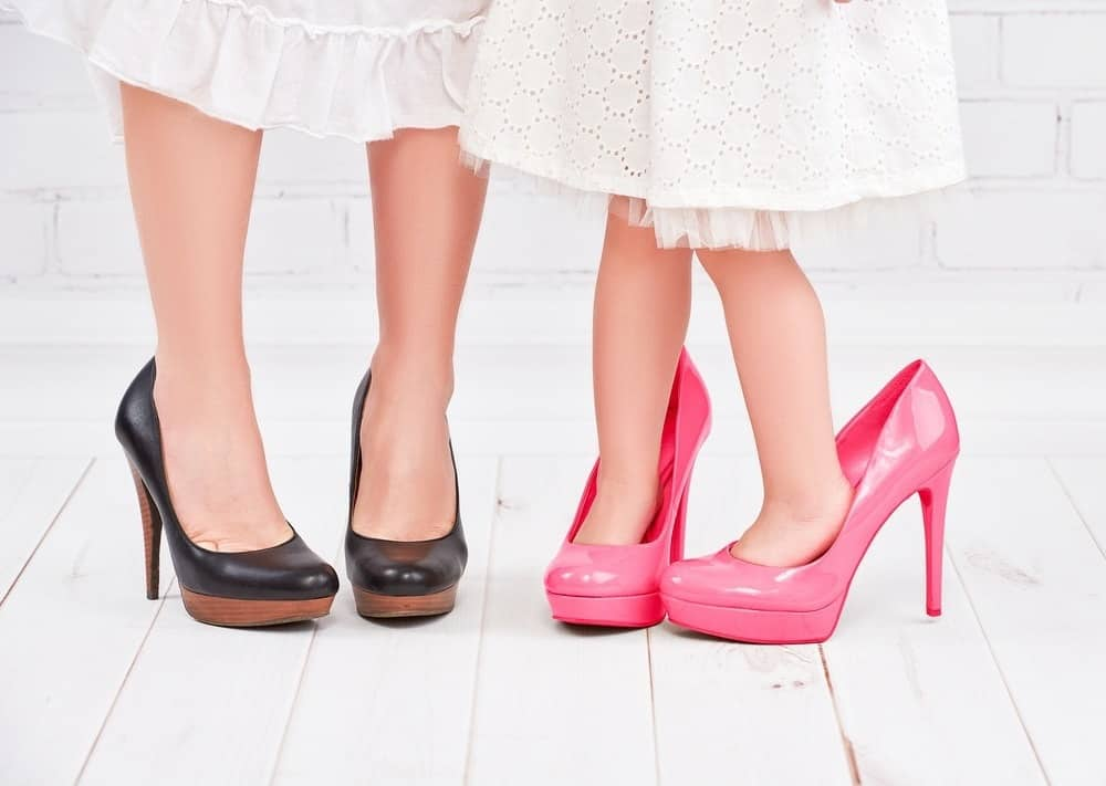 mother and daughter in high heels