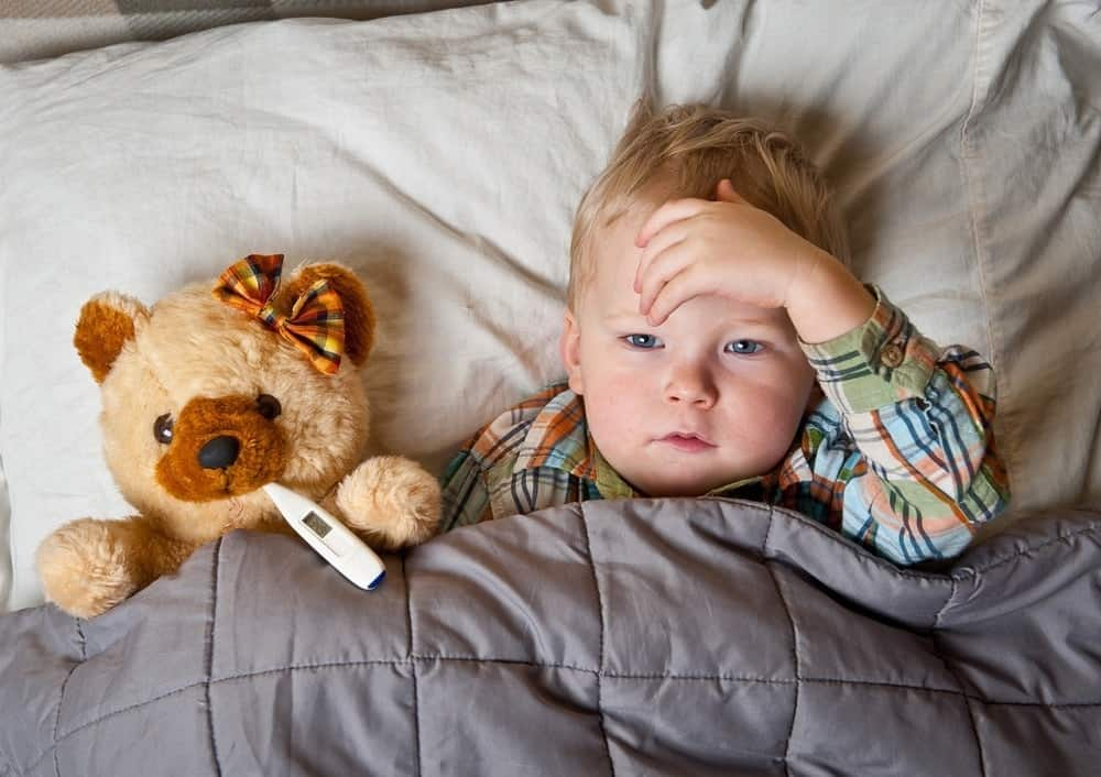 sick boy in bed with teddy and thermometer